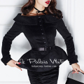 le palais vintage women 50's black boat neck long sleeve veste peplum wool coat pin up jacket plus size coats manteau femme