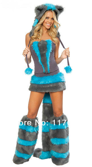 Fox Costume Female & Womens Hooded One-piece Halloween Fox Costume