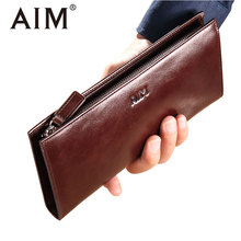 AIM High Quality Vintage Genuine Leather Wallet Men Oil Wax Cow Leather Clutch Wallets Zipper Phone Card Holder Male Long Purse