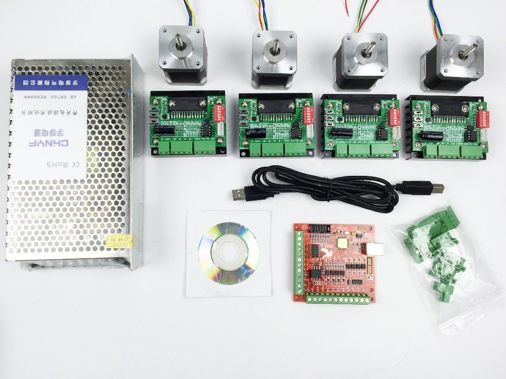 все цены на  CNC mach3 USB 4 Axis Kit, 4pcs TB6560 driver+ mach3 USB stepper motor controller board+ 4pcs nema17 stepper motor +power supply  онлайн