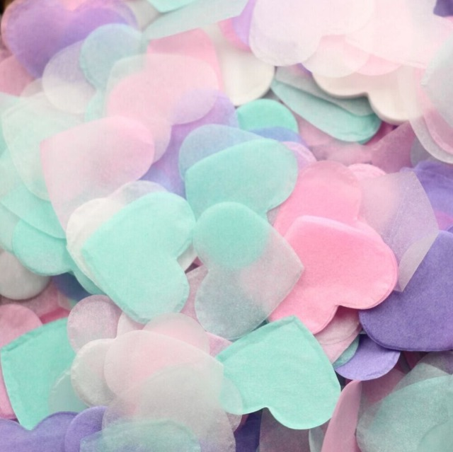 Pastel Heart Photograph Wedding Confetti Love Arrow Sherbet Pink Yellow Pale Blue Mint Green