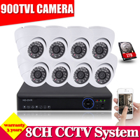 HD 8ch Full 960h Cctv Video Surveillance Camera Security System With 8pcs 900tvl Outdoor Camera Dvr