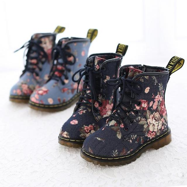 Clearance fashion children boots girls boots retro printed flower ...