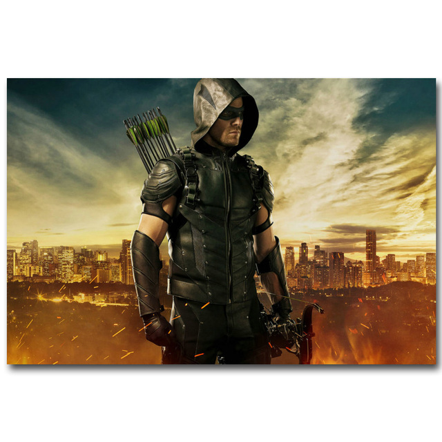 Green Arrow Silk Fabric Poster
