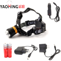 Zoomable led headlamp CREE XM-L T6 2300LM powerful led flashlight bicycle headlight+2*18650 battery+charger for riding head lamp
