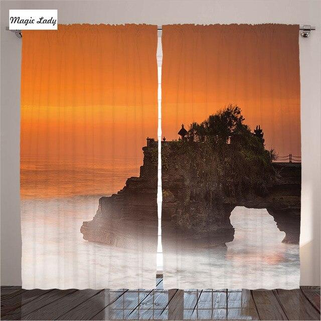 Orange Vorhänge Wohnzimmer Schlafzimmer Pura Tanah Lot Bali Indonesien  Romantische Sunset Art Ferien Braun 2 Kollektoren