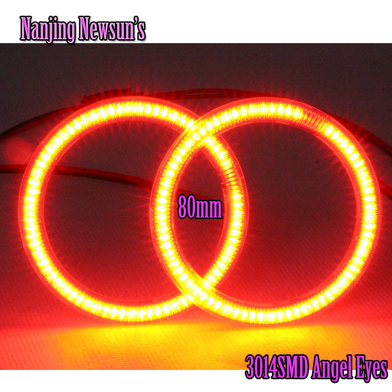 2Pieces(1 Pair) Auto Halo Rings 3014 80MM Angel Eye 12V 24V Headlight Car Angel Eyes Motorcycle White Red Green Blue R G B W 1 pair massage slipper 2 pieces 2 pin