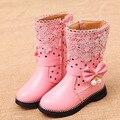 Botas quentes crianças botas de inverno meninas à prova d' água 3 cores meninas sapatos forro de pelúcia de alta martin botas sapatos de crianças para as meninas