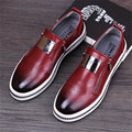2017 men fashion leather shoe british round head men zipper casual flats metal male flat loafers red black grey us size 8.5