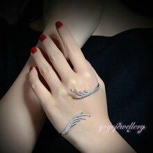 Mytys 18 k chapado en oro blanco de palma de la mano de la moda brazalete de circón color de plata con cuentas brazalete palma handlet r1095