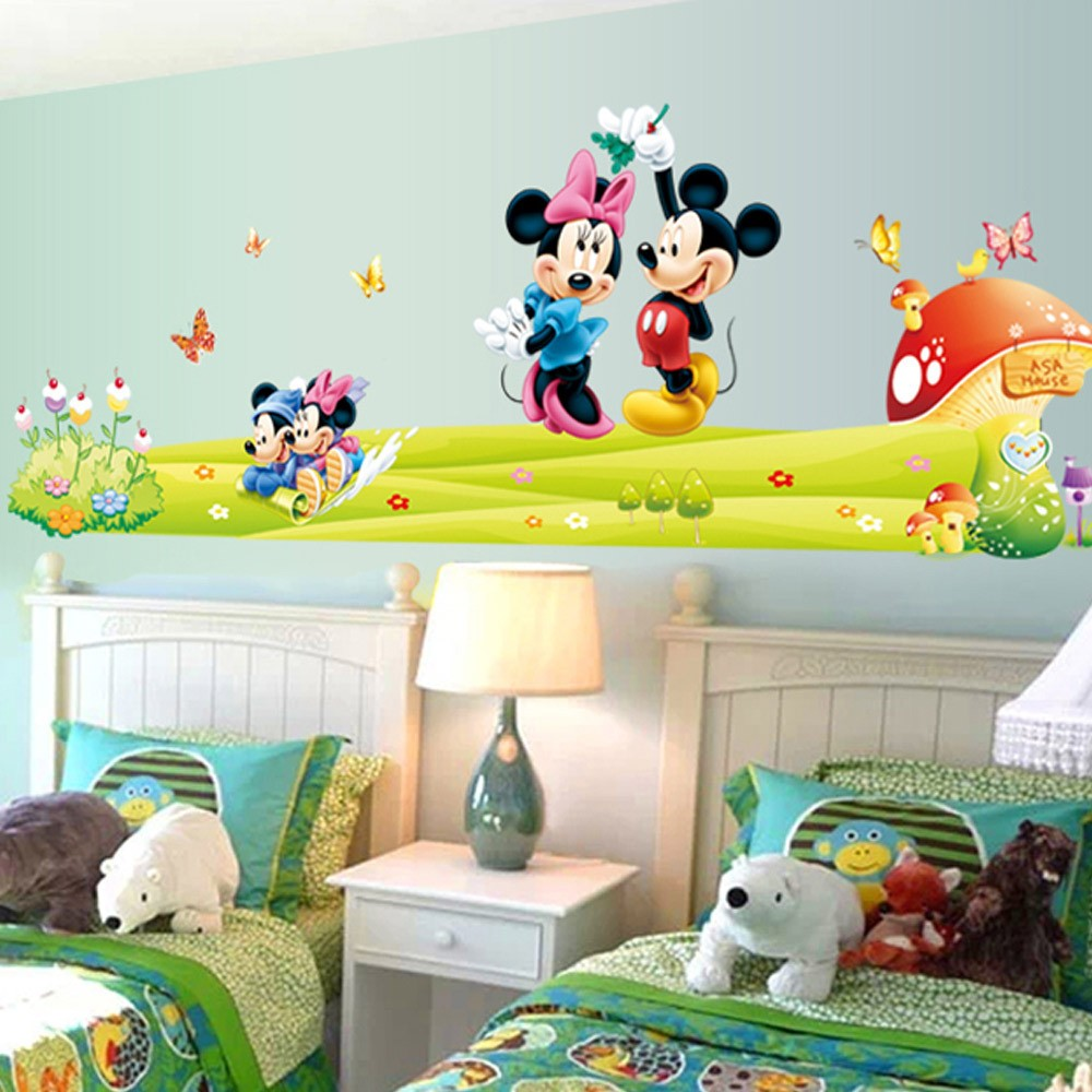 Hot mickey mouse minnie mouse wall sticker children room nursery hot mickey mouse minnie mouse wall sticker children room nursery decoration diy adhesive mural removable vinyl wallpaper xy8126 in wall stickers from home amipublicfo Image collections