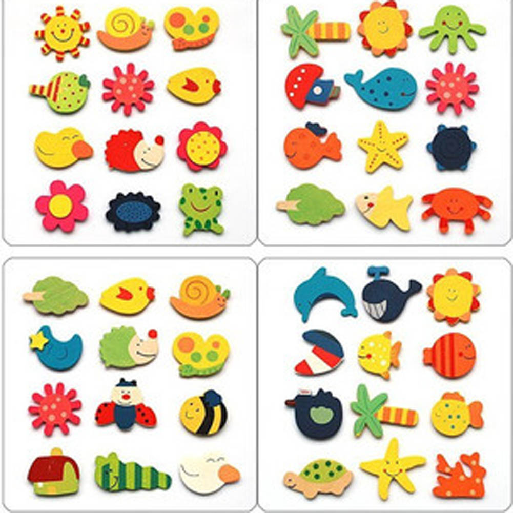 12 PCS/ Pack Wooden Cartoon Magnetic Refrigerator Fridge Color Creative Action & Toy Figures Doll Refrigerator Stickers Magnets