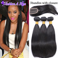 7A Human Hair with Closure Ms Lula Hair Weft with Closure Brazilian Virgin Hair Straight Lace Frontal Closure with Bundles
