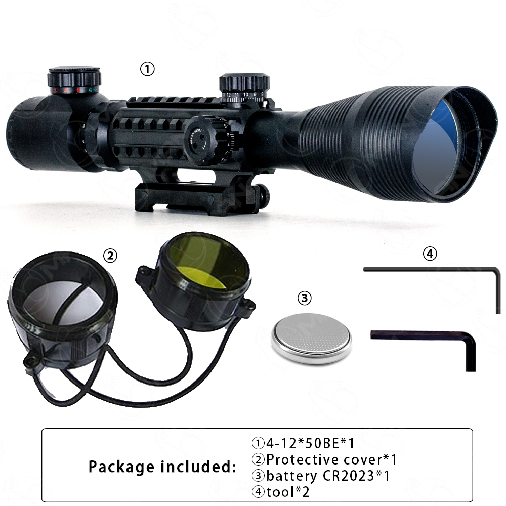 Pro 4-12X50 EG Optical telescope Rifle Scope Red Green Dual illuminated w/ Side Rails & Mount For Hunter airgun airsoft c4 12x50 tactical optical rifle scope red green dual illuminated w side rails