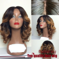 Cheap Price Curly Bob Wigs Synthetic Lace Front Wigs Ombre Color #1B To Brown Heat Resistant Hair Wigs African American Wigs