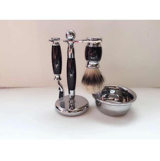 Beard Brush Set Men's Shaving Set -- De Razor, Badger Brush, Chrome Bowl, GBS Soap And Stand.FH-10149