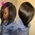 Лучшие человеческие волосы боб парик бразильский девственные волосы фронта парик необработанные Glueless короткий боб прямые парики для чернокожих женщин на складе