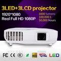 Nueva llegada!! 3000 lúmenes 1080 P 75 Vatios y 50,000 Horas de lámpara LED LCD 3D proyector para Uso En El Hogar