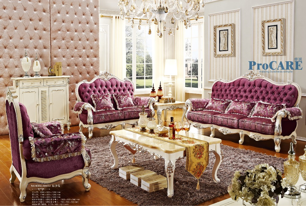 Buy Luxury Italian Oak Solid Wood Purple Fabric Sectional Sofas Set Living Room