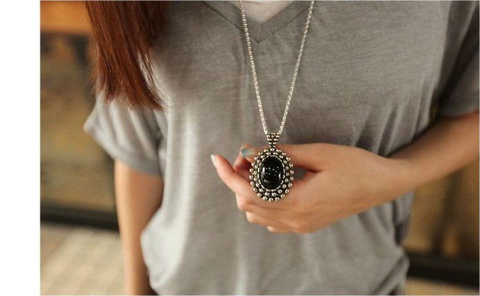 Minimal mix ordr is $15 Wholesale Retail Ancient  black crystal stone long sweater necklace Z-A3002 Free shipping