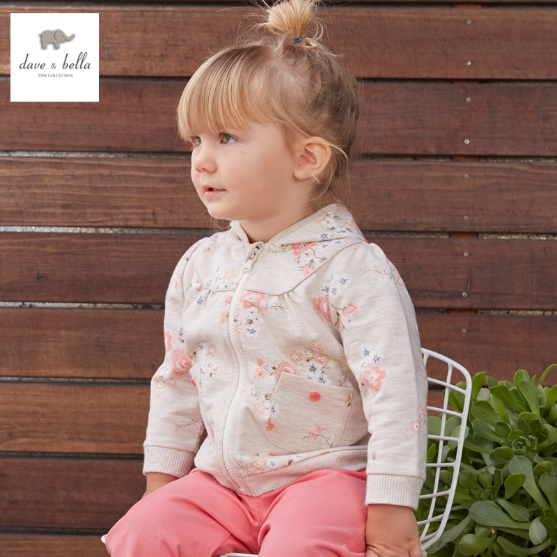 DB3463  davebella spring autumn new baby girls floral coat with hood infant clothes toddle coat girls hodded  kid