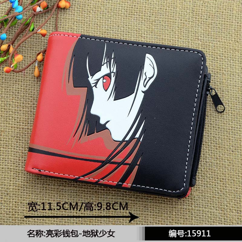 Japanese Anime Hell Girl PU Short Wallet With Zipper Printed With Enma Ai japanese anime poke death note attack on titan one piece game ow short wallet with coin pocket zipper poucht billetera