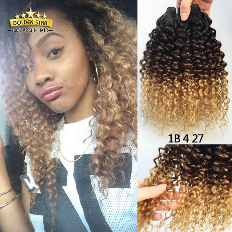 8A Ombre Hair Extensions Brazilian Deep Curls 3 Tone Human