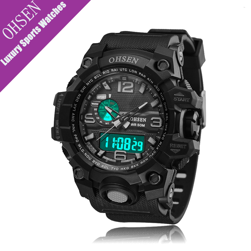 OHSEN Watch Men Sport Waterproof Analog Quartz Digital Mens Watches Military Army Luxury Clock Camping Relogio Masculino montre weide new men quartz casual watch army military sports watch waterproof back light men watches alarm clock multiple time zone
