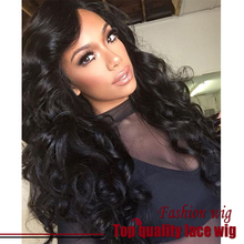 Free Shipping Brazilian Bady Wave Wig Black Wig Bouncy 180% Density Synthetic Lace Front Wigs Heat Resistant For Black Women
