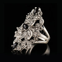 Jenia Luxury Thai Silver Ring High Quality Marcasite Retro Flower Design Ring For Women XR313