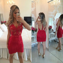Hot Red Kurze Cocktailkleider Sexy V-ausschnitt Sheer Zurück Mini Applizierte Homecoming Kleid vestidos de coctel
