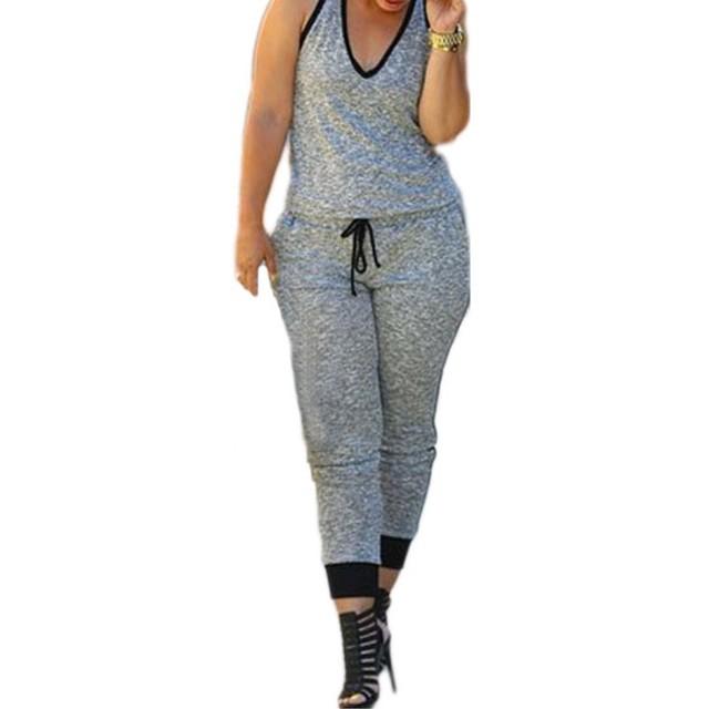 Novo 2016 Jumpsuit Mulheres Sexy Verão Cinza Com Cordão Cintura V Neck Mangas Macacão A60578 rompers jumpsuit womens