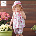 DB3194 dave bella summer baby girls floral sweet clothing sets girls soft breathable clothing set sleeveless 2 pcs set