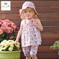 DB3194 dave bella verano de los bebés floral dulce sistema de la ropa sin mangas 2 unids ropa establece niñas suave transpirable conjunto
