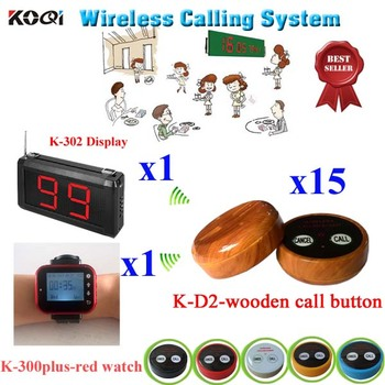 Wireless Waiter Service Calling Pager System With Table Buzzer Ordering Restaurant Pager(1 display+ 1 watch+ 15 call button)