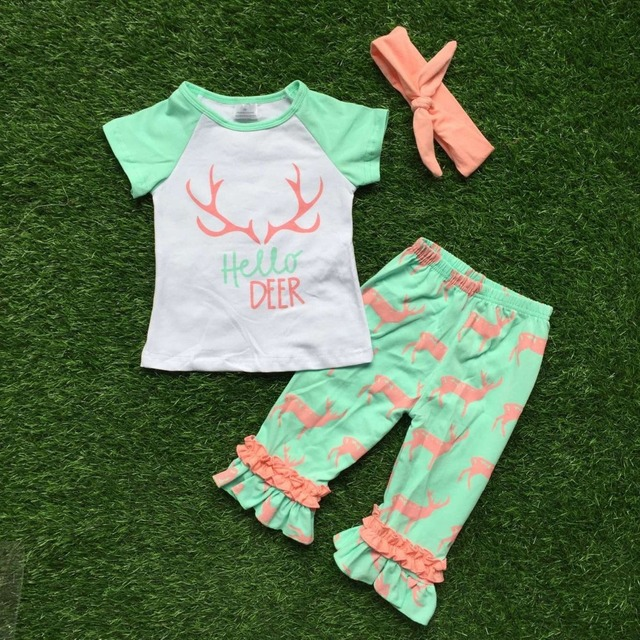 Ropa de verano de los bebés hola deer capri volante establece ropa de los niños de manga corta trajes con diadema