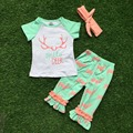 baby girls summer clothing hello deer outfits short sleeve ruffle capri sets children clothes with headband