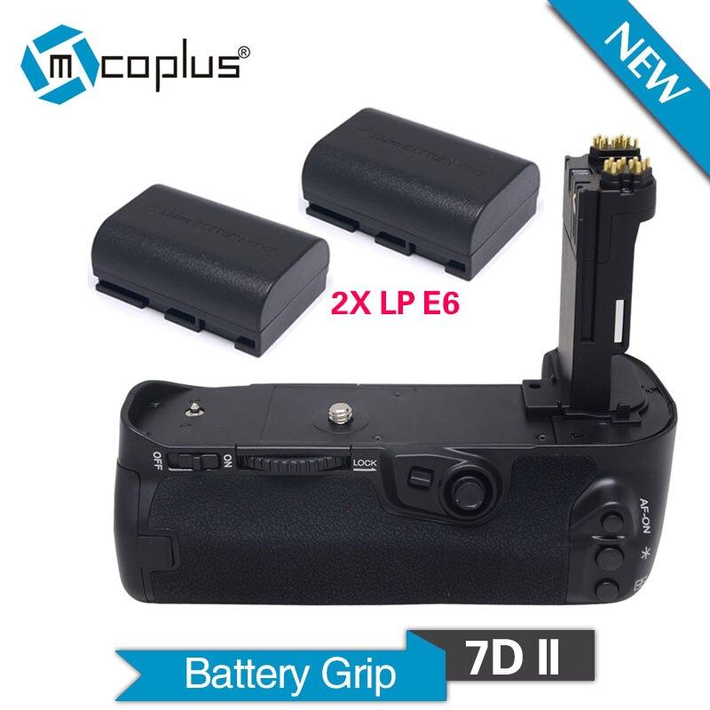 Mcoplus BG-7DII Poignée De Batterie Verticale avec 2 pièces LP-E6 Batteries pour Canon EOS 7D Mark II Caméra BG-E16 Meike MK-7DII