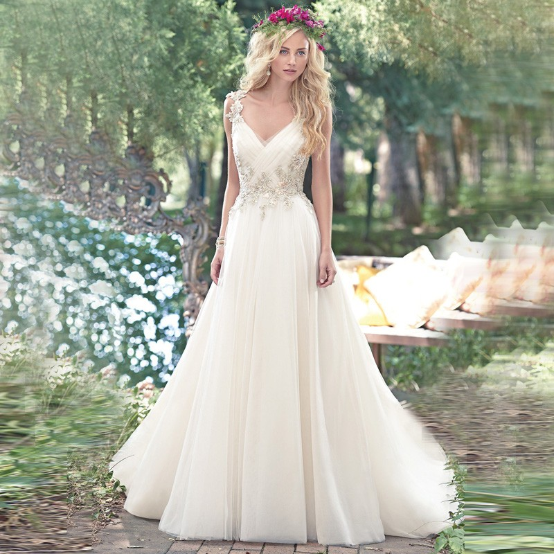 Buy sa196 country v neck tulle beads for Buy beach wedding dress