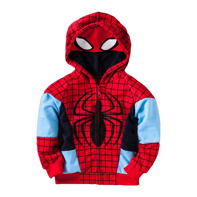 Nova Primavera Menino jaqueta Casaco Crianças Spiderman Casacos Crianças Criança Moda Bebê Menino Roupas Dos Desenhos Animados Zipper Com Capuz Sweatershirt