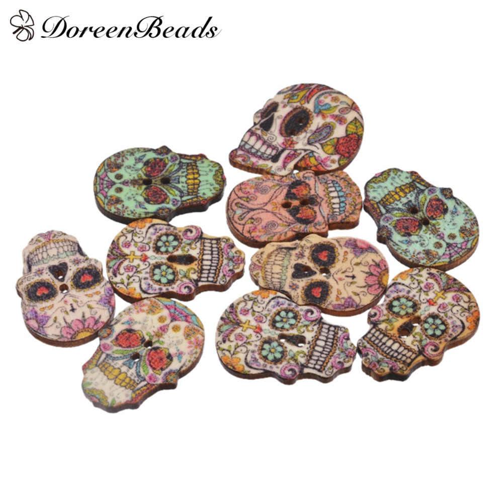 10 pcs Hinoki Wood Sewing Buttons Scrapbooking 2 Trous Crâne au hasard 24.5*17mm