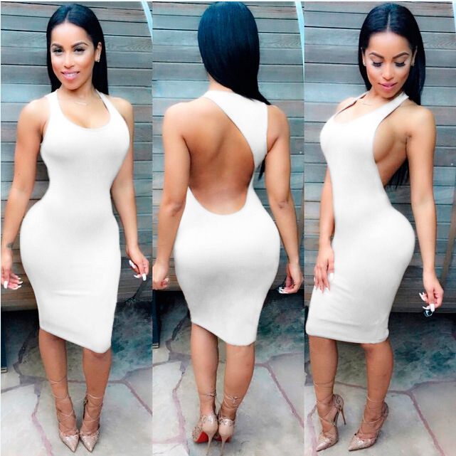 f6b52c81d1a summer women sexy bandage dresses party night club dress Knee Length  Sleeveless Backless O Neck bodycon dress Plus Size Clothing-in Underwear  from Mother ...