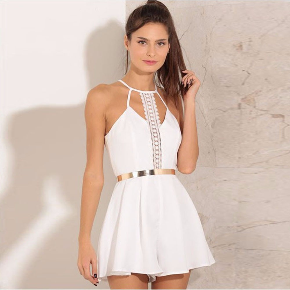 Fashion Overalls For Women Sleeveless Lace bodysuit Sling Lady Sexy V Neck Spaghetti Strap Female Short   Jumpsuit   White Playsuit