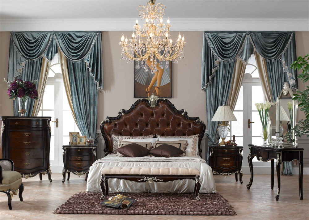 Natural Wooden Color Classic Italian Style Provincial Bedroom Furniture Set 0402 A007