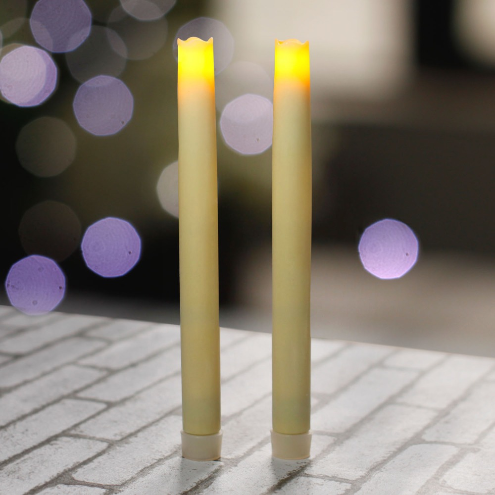 home impressions battery operated smooth flameless real wax melted led taper candle lightsix hour