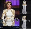 Vintage Blanco de Satén de Oro Bordado Con Cuentas Saudita myriam Vestidos de Noche Baratos