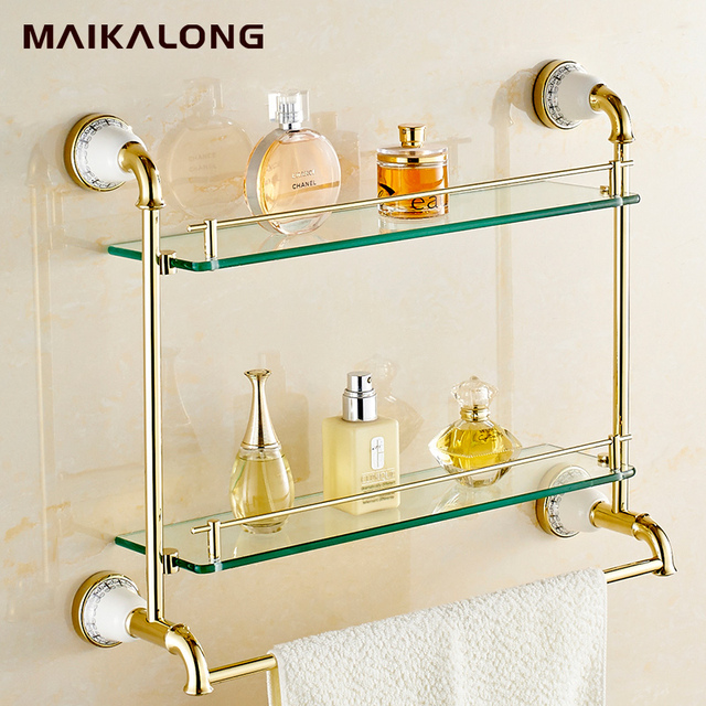 gold.Bathroom Accessories Golden Finish With Tempered Glass,Double ...