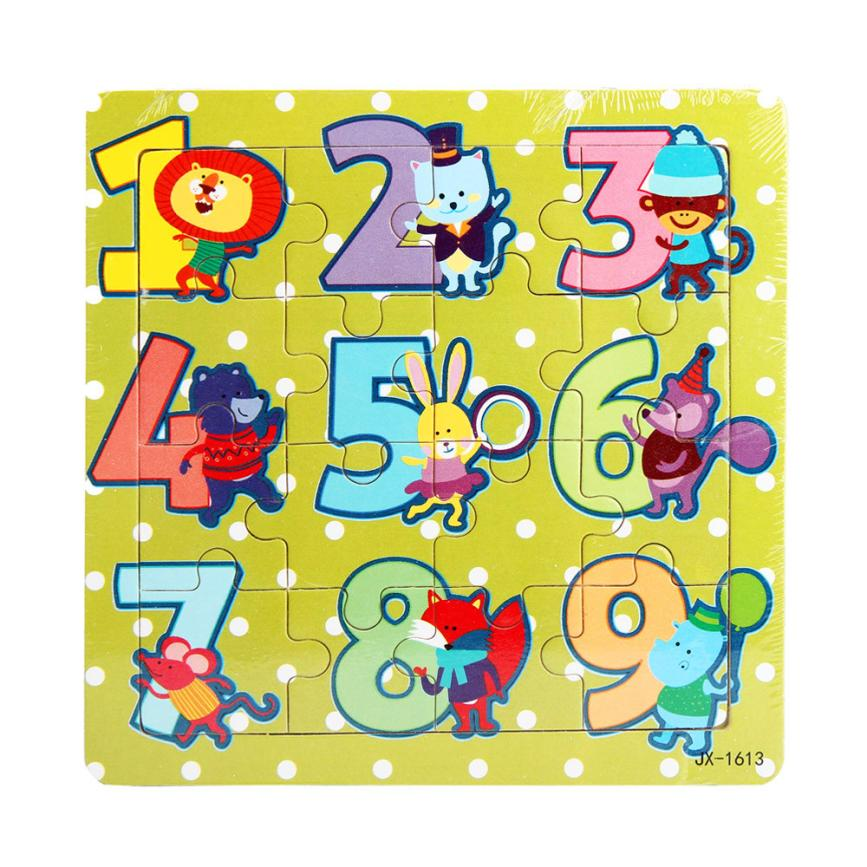 Educational Toys 16 pieces Wooden cartoon digital animals Fidget Hand Spinner Puzzle Juguetes De Madera hand grasp knob pegged puzzle wooden quality animals characters letter cognitive board children recognization toys