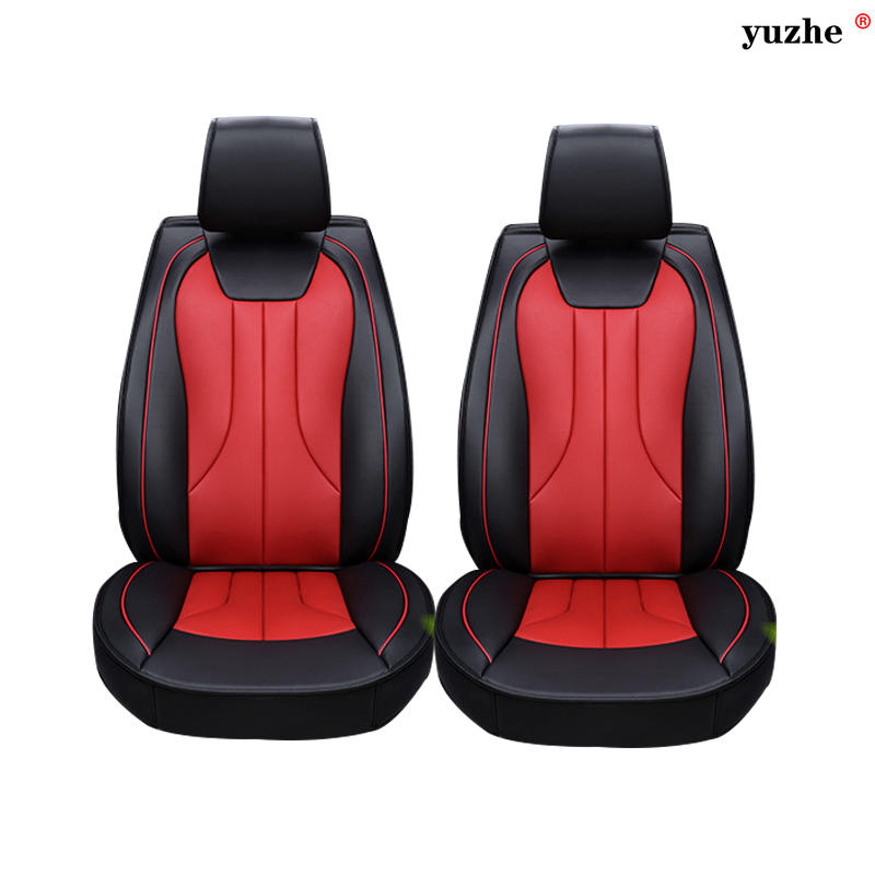 2 pcs Leather car seat covers For Toyota RAV4 PRADO Highlander COROLLA Camry Prius Reiz CROWN yaris car accessories styling high quality linen universal car seat covers for toyota corolla camry rav4 auris prius yalis car accessories cushions styling