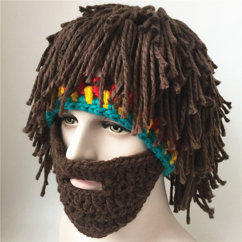winter knitted Knight Helmet beanies hat for Halloween Handmade wool with  wig beard wacky bearded Rasta ski snowboard face mask 8cc891a0668